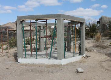 Summer house construction. Concrete pillars